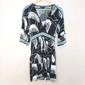BCBG 3/4 Sleeve Cold Shoulder Blue XSmall Dress